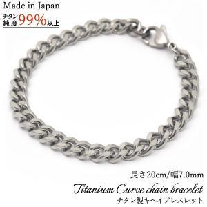 からだに優しい金属チタン日本製キヘイチェーンブレスレット 幅7.0mm・長さ20cm watch-me