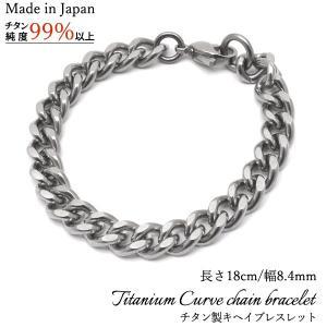 からだに優しい金属チタン日本製キヘイチェーンブレスレット 幅8.4mm・長さ18cm watch-me