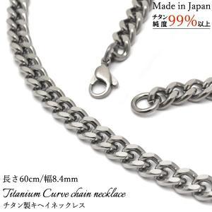 からだに優しい金属チタン日本製キヘイチェーンネックレス 幅8.4mm・長さ60cm watch-me