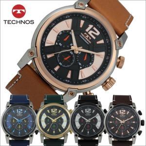 テクノス T6434 牛革バンド クロノグラフ 腕時計 メンズ TECHNOS 正規品 アウトレット|watch-outletstore