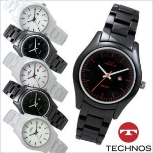 テクノス T9829 セラミックケース&バンド 三針 カレンダー 腕時計 レディース TECHNOS 正規品 アウトレット|watch-outletstore