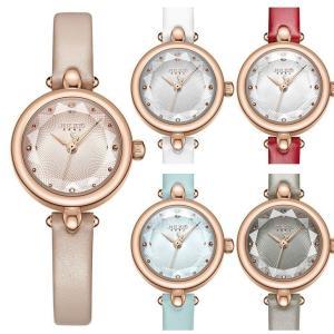 細身のベルトと小ぶりなフェイスが女性らしいイメージでジュエリーのような腕時計です品のあるデザインとカ...