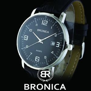 BRONICAブロニカ BR-814M-BK カーブガラス カーブダイヤル 本革ベルト メンズ 腕時計 黒|watch-shop