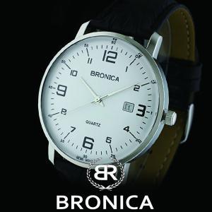 BRONICAブロニカ BR-814M-WH カーブガラス カーブダイヤル 本革ベルト メンズ 腕時計 白|watch-shop
