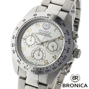 メンズ 腕時計 BRONICA ブロニカ BR 817 SV 日本製 クロノグラフ 銀|watch-shop