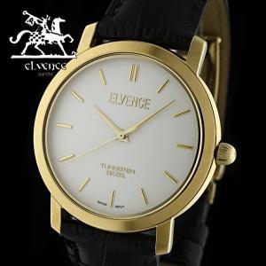 ELVENCE エルヴェンス EL-702G-4  腕時計 スイス製ムーブメント ゴールド 黒|watch-shop