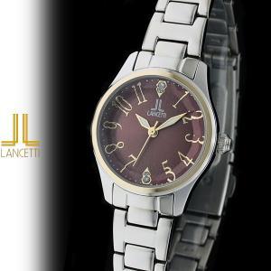 レディース 腕時計 LANCETTI ランチェッティ LT-6202G-BR 天然ダイヤモンド カットガラス 茶|watch-shop
