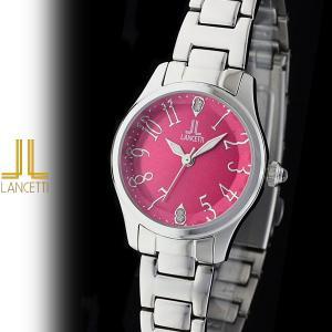 レディース 腕時計 LANCETTI ランチェッティ LT-6202S-RE 天然ダイヤモンド カットガラス 赤|watch-shop