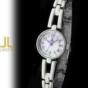 レディース 腕時計 LANCETTI ランチェッティ LT-6204S-WH 天然ダイヤモンド カットガラス 白|watch-shop