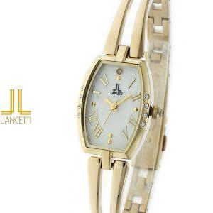 レディース 腕時計 LANCETTI ランチェッティ LT-6205G-WH 天然ダイヤモンド カットガラス ゴールド|watch-shop