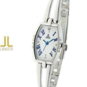 レディース 腕時計 LANCETTI ランチェッティ LT-6205S-WB 天然ダイヤモンド カットガラス 白 青|watch-shop