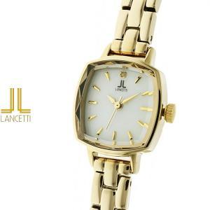 レディース 腕時計 LANCETTI ランチェッティ LT-6207G-WH 天然ダイヤモンド カットガラス ゴールド|watch-shop