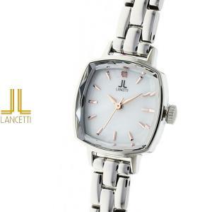 レディース 腕時計 LANCETTI ランチェッティ LT-6207S-WH 天然ダイヤモンド カットガラス 白|watch-shop