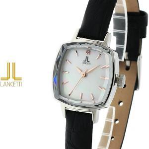 レディース 腕時計 LANCETTI ランチェッティ LT-6208S-WHBK 天然ダイヤモンド カットガラス 黒 白|watch-shop