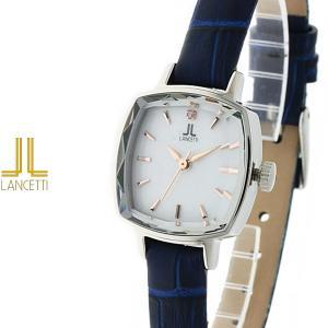 レディース 腕時計 LANCETTI ランチェッティ LT-6208S-WHBL 天然ダイヤモンド カットガラス 白 青|watch-shop