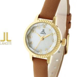 レディース 腕時計 LANCETTI ランチェッティ LT-6209G-LB 天然ダイヤモンド カットガラス ゴールド ベージュ|watch-shop