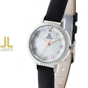 レディース 腕時計 LANCETTI ランチェッティ LT-6209S-BK 天然ダイヤモンド カットガラス シルバー 黒|watch-shop