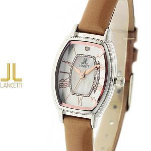 レディース 腕時計 LANCETTI ランチェッティ LT-6210S-LB 天然ダイヤモンド カットガラス ベージュ|watch-shop