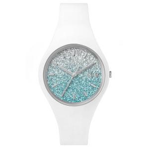 腕時計 レディース キラキラ ホワイト ICE-WATCH ICE 013425 ホワイト ブルー 国内正規品 柔らかくて肌触りの良いシリコンラバー|watchcrash
