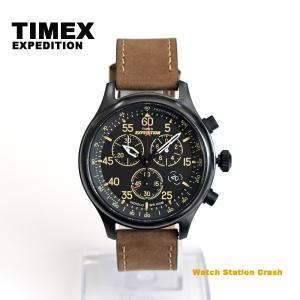 TIMEX タイメックス T49905  エクスペディション ミリタリーフィールド クロノグラフ 革ベルト メンズ 腕時計|watchcrash