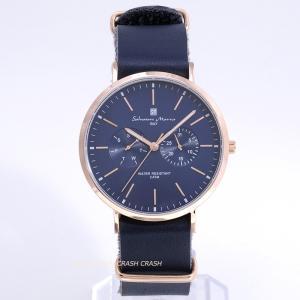 国内正規品(イタリアブランド)Salvatore Marra サルバトーレ マーラ SM15117-PGNVPG ネイビー 本革ベルト 男性 女性 メンズ レディース 腕時計|watchcrash