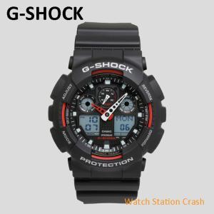 G-SHOCK カシオ 腕時計 メンズ 防水 ブラック レッド GA-100-1A4 20気圧防水|watchcrash