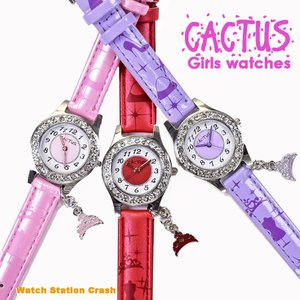 【送料無料】子供用 腕時計 CACTUS カクタス CAC-71-L 全3色 ピンク レッド パープル チャーム付き キッズ KIDS ガールズ 女の子 こども|watchcrash