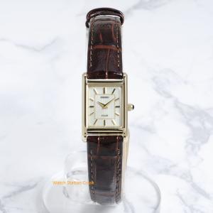 腕時計 レディース(ソーラーウオッチ)SEIKO SUP252  ゴールド 白文字盤 革ベルト プレゼントにも最適|watchcrash