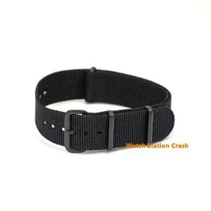 腕時計 NATO ベルト TIMEX SEIKO CASIO...etc マットブラック ブラック バンド ナイロンストラップ 18mm 20mm 22mm|watchcrash