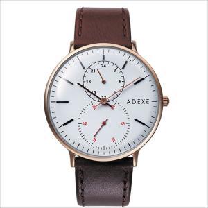 腕時計 メンズ レディース ADEXE 2045B-02 GRANDE(グランデ) 41mm ゴールドケース ブラウン カーフレザー 国内正規品|watchcrash