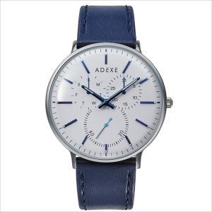 腕時計 メンズ レディース ADEXE 2045C-T01 GRANDE(グランデ) 41mm シルバーケース ネイビー ホワイト 国内正規品|watchcrash