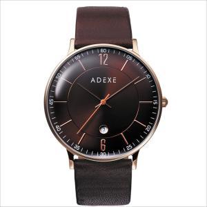 【送料無料】腕時計 メンズ レディース ADEXE ロンドン ブランド 2046B-01 国内正規品 GRANDE 41mm ローズゴールド ブラウン 革ベルト|watchcrash