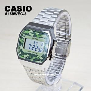 腕時計 メンズ 迷彩 デジタル CASIO A168WEC-3 チープカシオ プチプラ カモフラージュ シルバー グリーン BOXなし|watchcrash