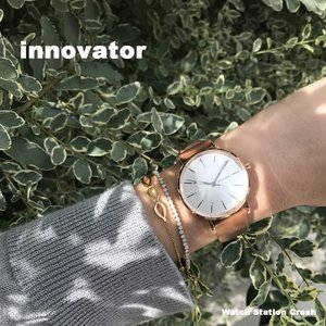 (北欧ブランド)innovator ENKEL シリーズ IN-0005-9  ピンクゴールド×シルバー カーフベルト 38mm 腕時計 レディース watchcrash