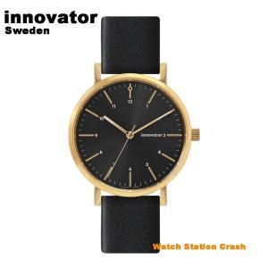 【北欧ブランド】イノベーター innovator エンケル IN-0007-13 ゴールド × ブラック 本革ベルト 38mm 腕時計 メンズ レディース カジュアル ビジネス watchcrash