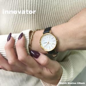 (北欧ブランド) innovator ENKEL シリーズ IN-0008-1 ゴールド×ホワイト ブラックカーフベルト 32mm 腕時計 レディース 女性 ビジネス カジュアル watchcrash