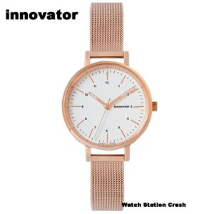 (北欧ブランド) innovator ENKEL シリーズ IN-0008-16 ミントグレー ローズゴールド メッシュストラップ 32mm 腕時計 レディース watchcrash