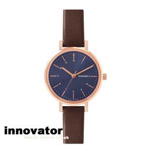 【北欧ブランド】イノベーター innovator エンケル シリーズ IN-0008-19 ローズゴールドケース ネイビーダイヤル ブラウンストラップ 32mm 腕時計 レディース watchcrash