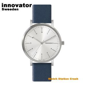【北欧ブランド】イノベーター innovator エンケル IN-0007-15 シルバー × ネイビー 本革ベルト 38mm 腕時計 メンズ レディース カジュアル ビジネス watchcrash