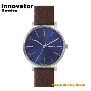 【北欧ブランド】イノベーター innovator エンケル IN-0007-19 シルバーケース ネイビー × ブラウン 本革ベルト 38mm 腕時計 メンズ レディース watchcrash