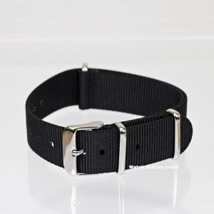 時計ベルト TIMEX CASIO SEIKO ...など バンド NATOタイプ ブラック ナイロンストラップ 腕時計用 20mm(送料無料)メール便(郵便)で発送|watchcrash