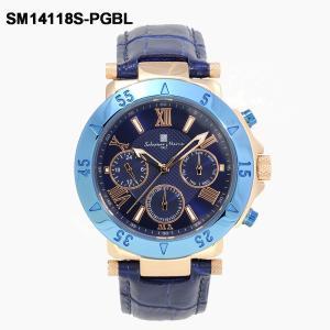 イタリアブランド 腕時計 メンズ Salvatore Marra サルバトーレ マーラ SM14118S-PGBL ブルー / ゴールド 革ベルト 国内正規品|watchcrash