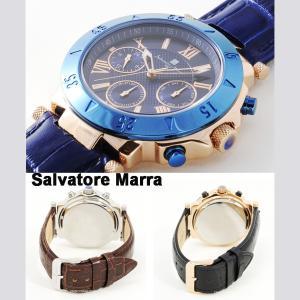 イタリアブランド 国内正規品 腕時計 メンズ Salvatore Marra  サルバトーレ マーラ  SM14118S-PGNV  ネイビー / ゴールド 革ベルト|watchcrash