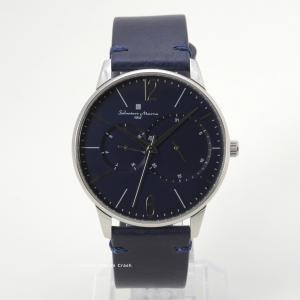 国内正規品【イタリアブランド】Salvatore Marra(サルバトーレ マーラ)シルバー ブルー 本革ベルト SM18105-SSBL メンズ 腕時計 ビジネス カジュアル|watchcrash