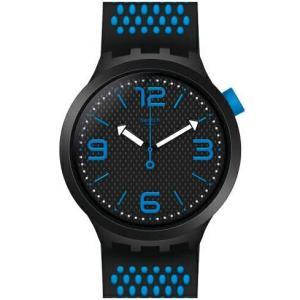 腕時計 メンズ NEW swatch  BLG BOLD  ブラック ブルー BBBLUE BBブルー SO27B101 安心の日本正規品|watchcrash