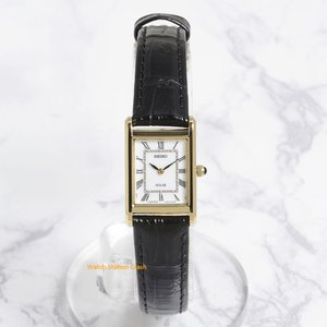 SEIKO 腕時計 レディース(電池交換不要のソーラー) SUP250 本革ベルト ゴールド 白文字盤 プレゼントにも最適|watchcrash