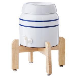 陶器製サーバー スプリングウェル(ノンスピルタイプ)ウォーターサーバー 常温 陶器製 木製スタンド付き 卓上|waterea