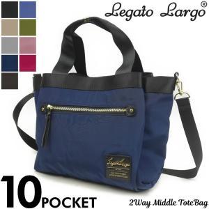 Legato Largo(レガートラルゴ) 高密度ナイロン調10ポケットミドルトートバッグ ショルダーバッグ 2WAY LH-F1051 レディース|watermode