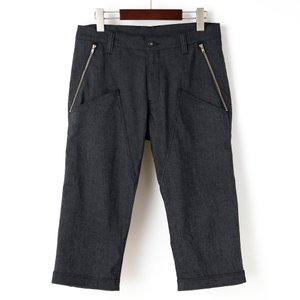 裾ベルト付クロップドパンツ 膝上ポケット メランジブラック|waveone