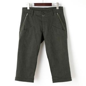 裾ベルト付クロップドパンツ 膝上ポケット オリーブ|waveone